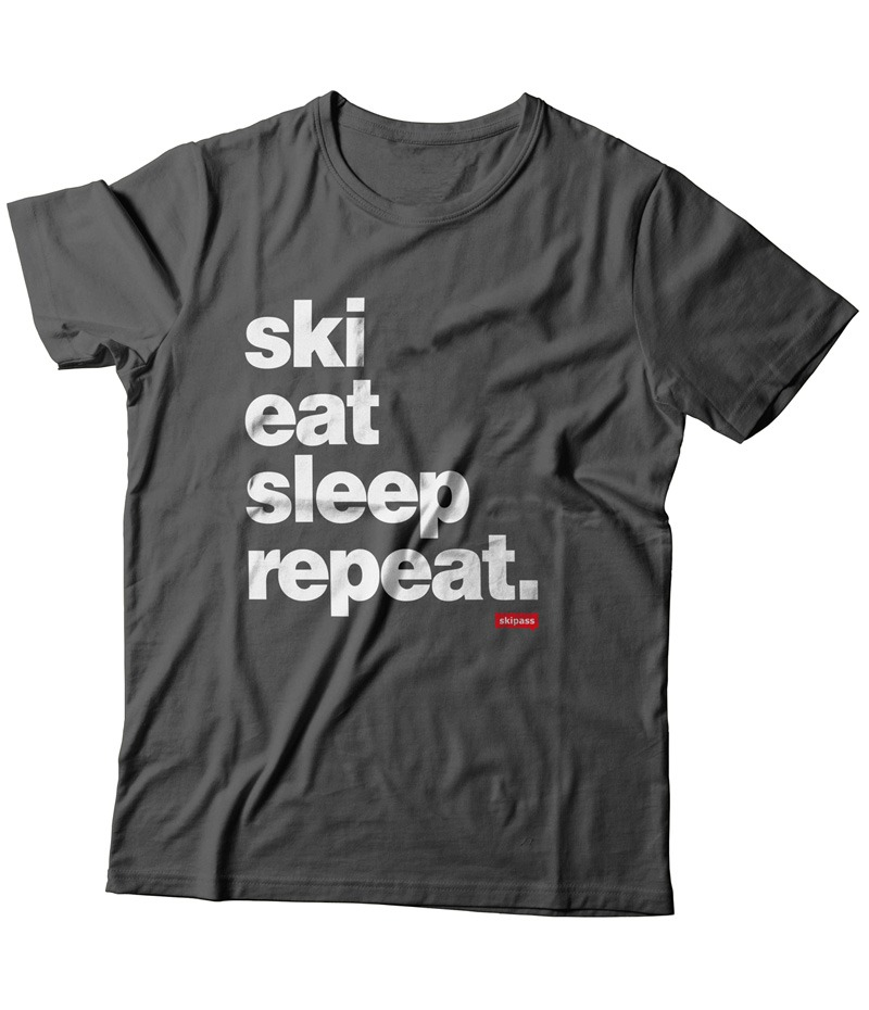 T-shirt Ski Eat Sleep Repeat homme asphalt