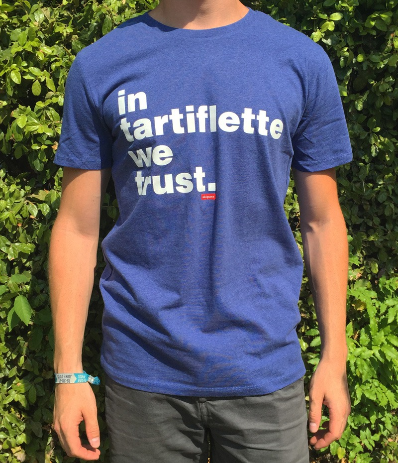 Tshirt In Tartiflette We Trust V2 bleu chiné homme