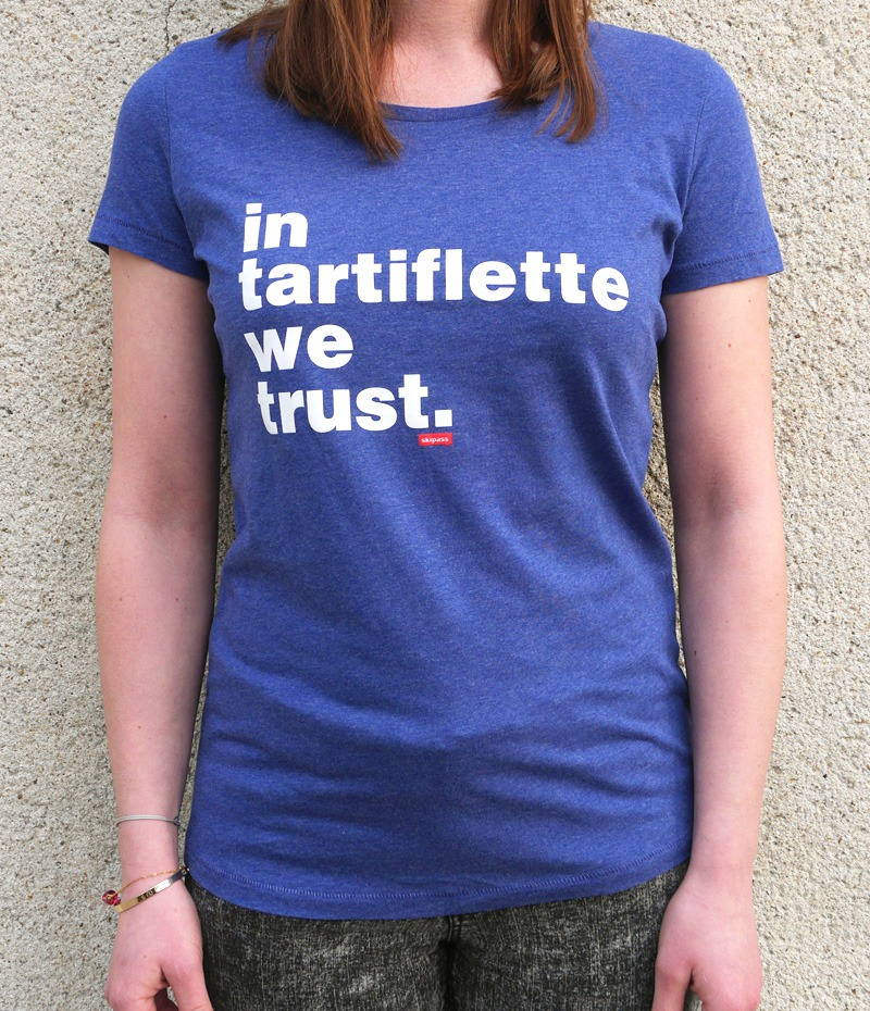 Tshirt In Tartiflette We Trust V2 bleu chiné femme