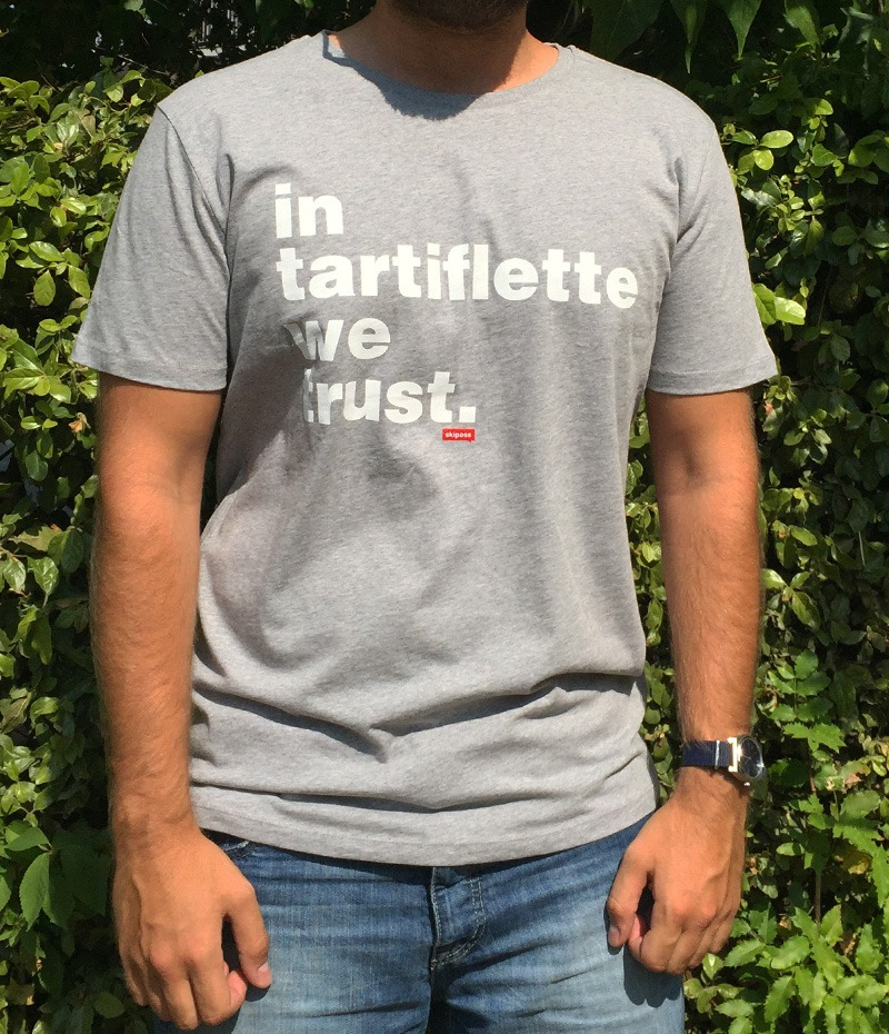 Tshirt In Tartiflette We Trust v2 gris chiné homme