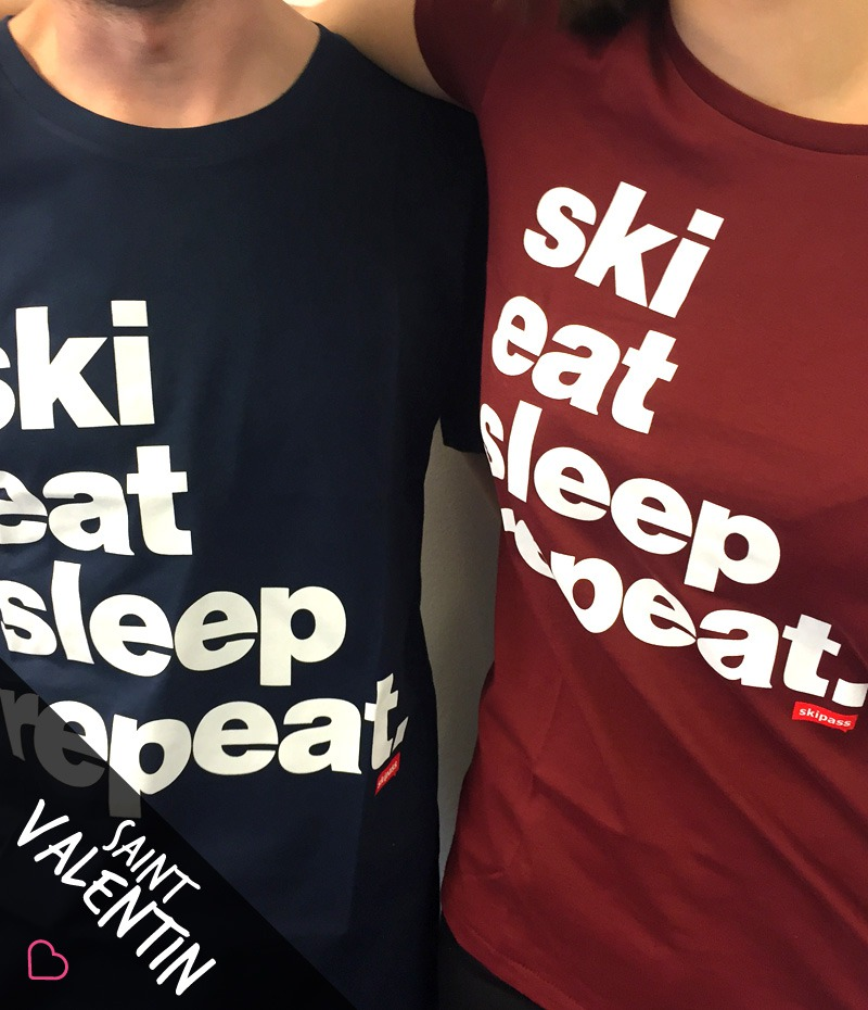 Pack Ski Eat Sleep Repeat - St Valentin