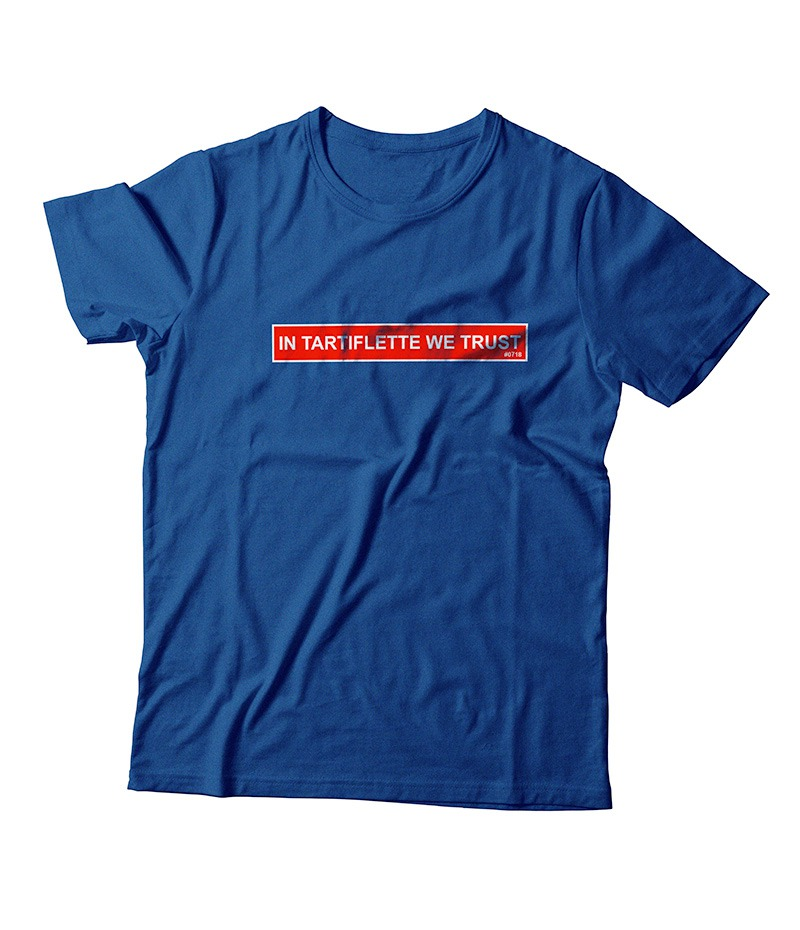 T'shirt In Tartiflette We Trust bleu royal chiné