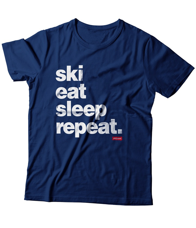 T-shirt Ski Eat Sleep Repeat homme navy