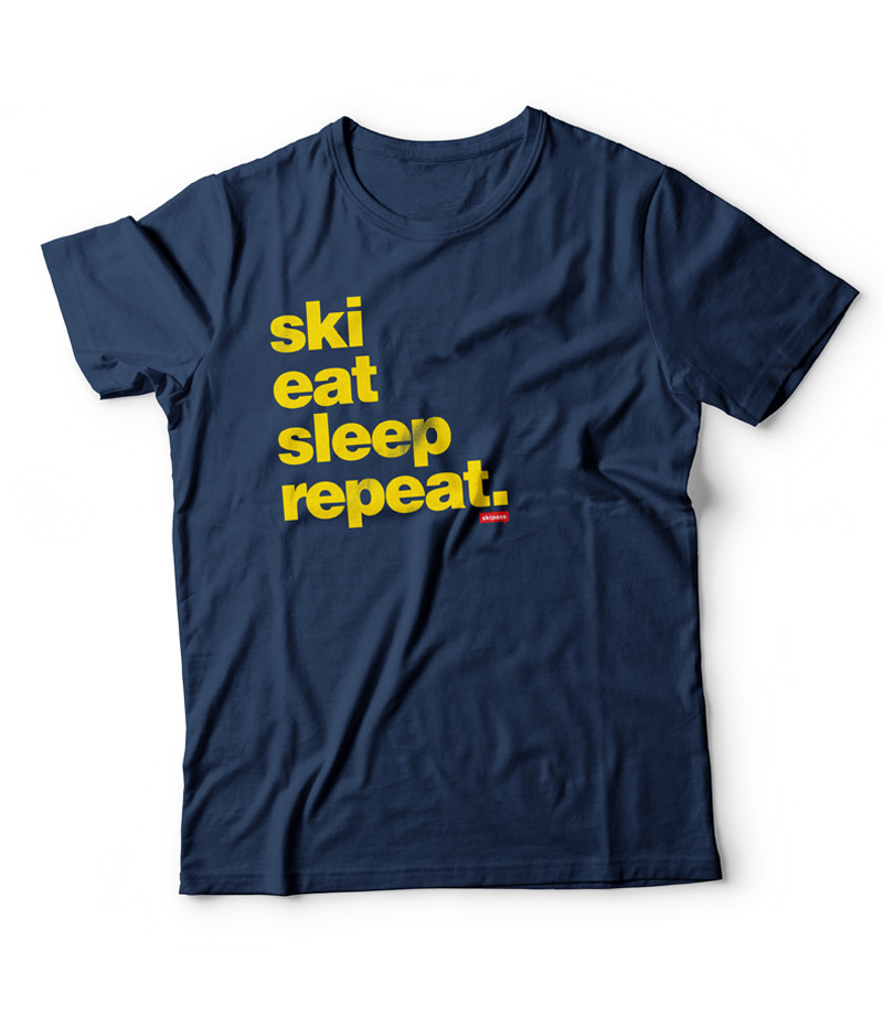 T-shirt Ski Eat Sleep Repeat homme yellow