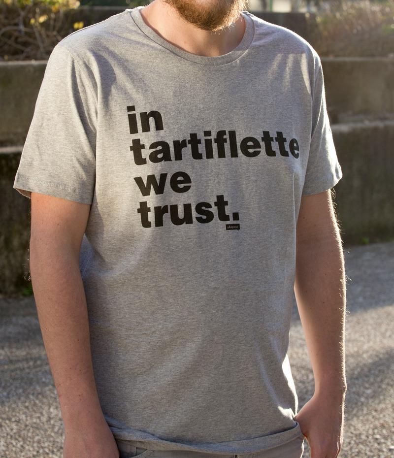 Tshirt In Tartiflette We Trust V2 gris chiné & noir homme
