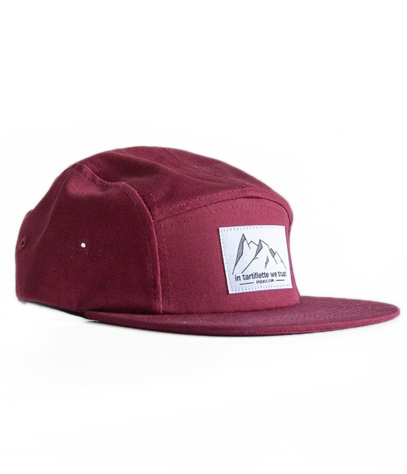 casquette 5 panel in tartiflette we trust étiquette tissée bordeaux