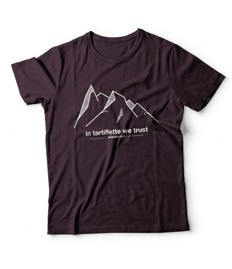 t-shirt montagne étiquette tissée bordeaux chiné