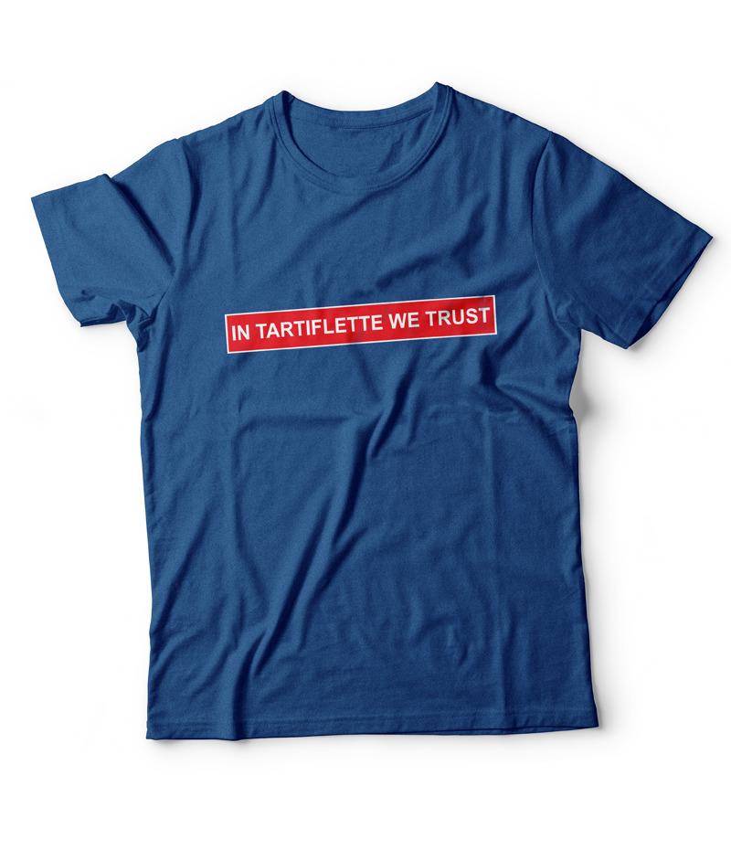 T'shirt In Tartiflette We Trust bleu royal chiné