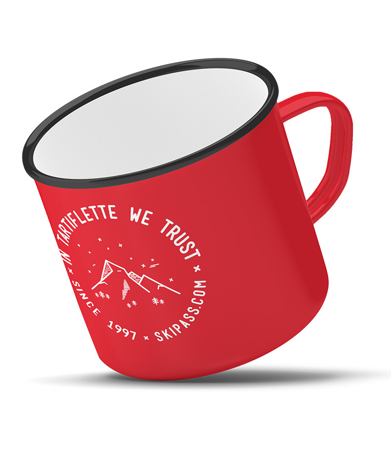 Tasse en metal vintage In Tartiflette We Trust rouge