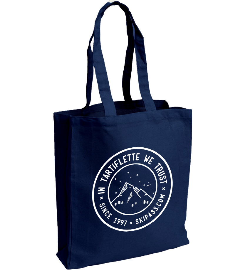 Tote bag in tartiflette we trust vintage navy