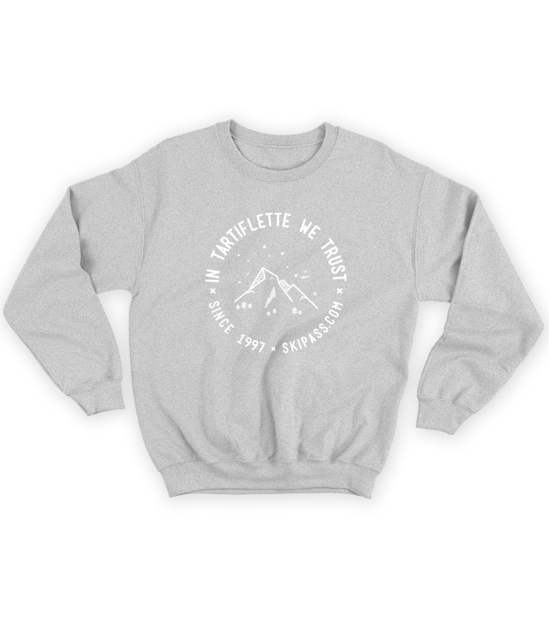 Sweat In Tartiflette We Trust vintage gris chiné